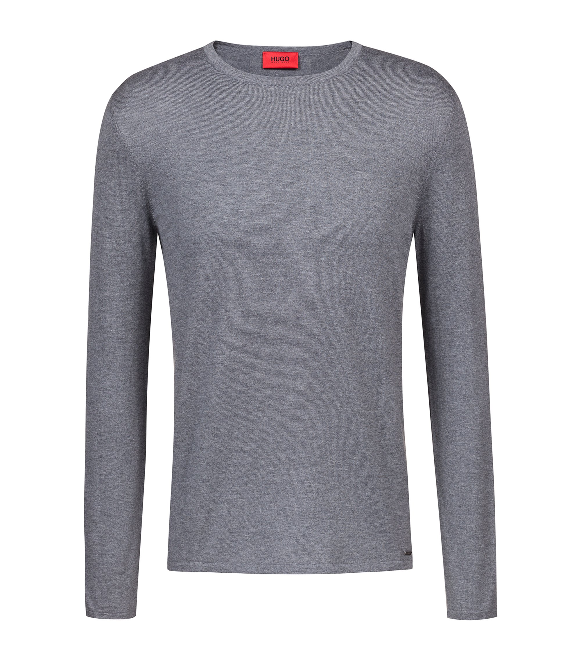 Crew-neck sweater in a cotton blend, Grey