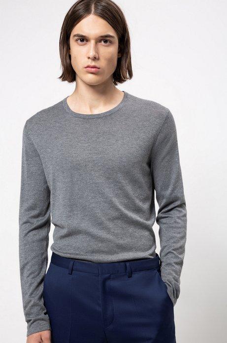 Pullover aus Baumwoll-Mix mit Seide, Grau