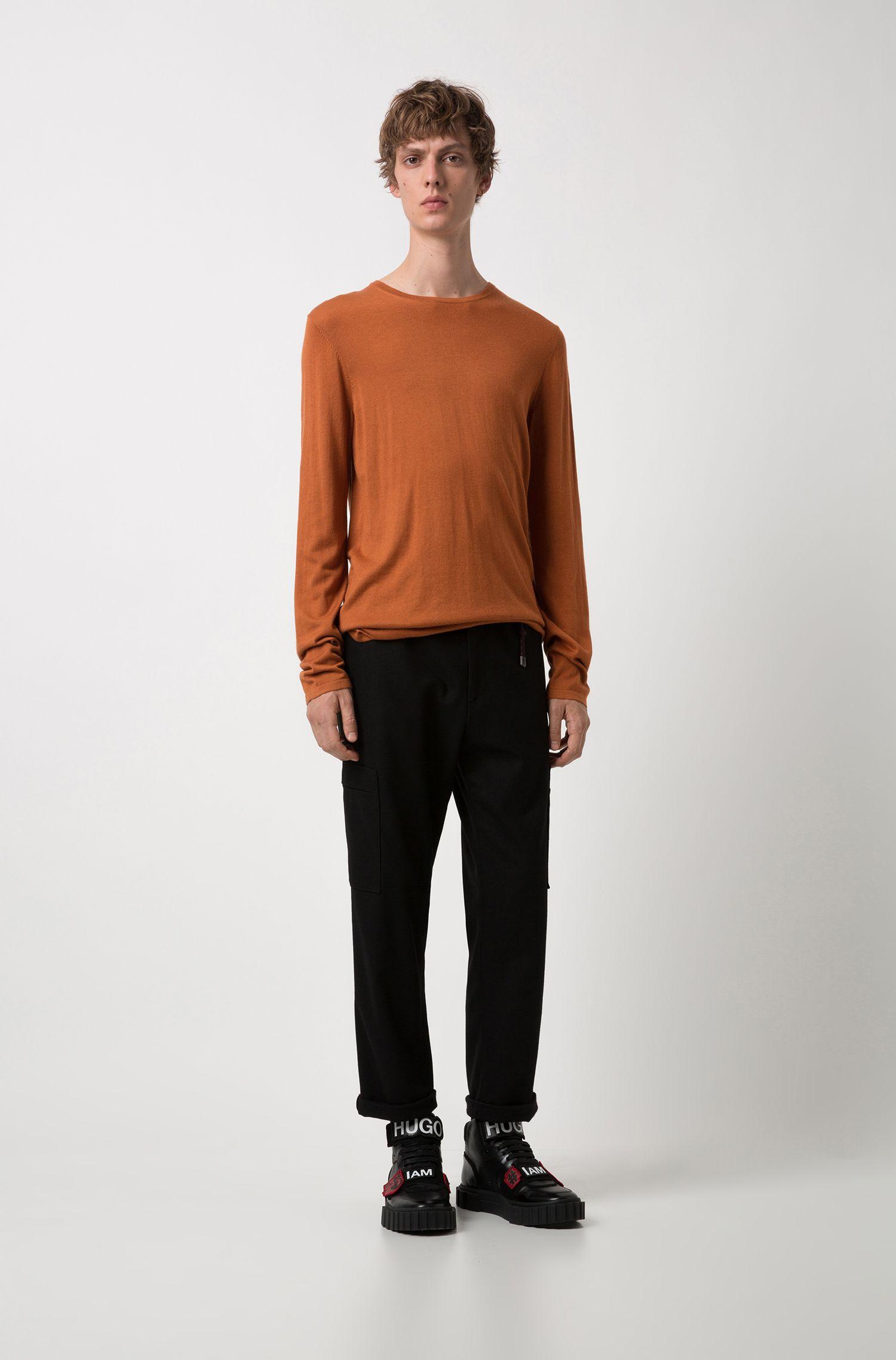 Pullover aus Baumwoll-Mix mit Seide, Braun