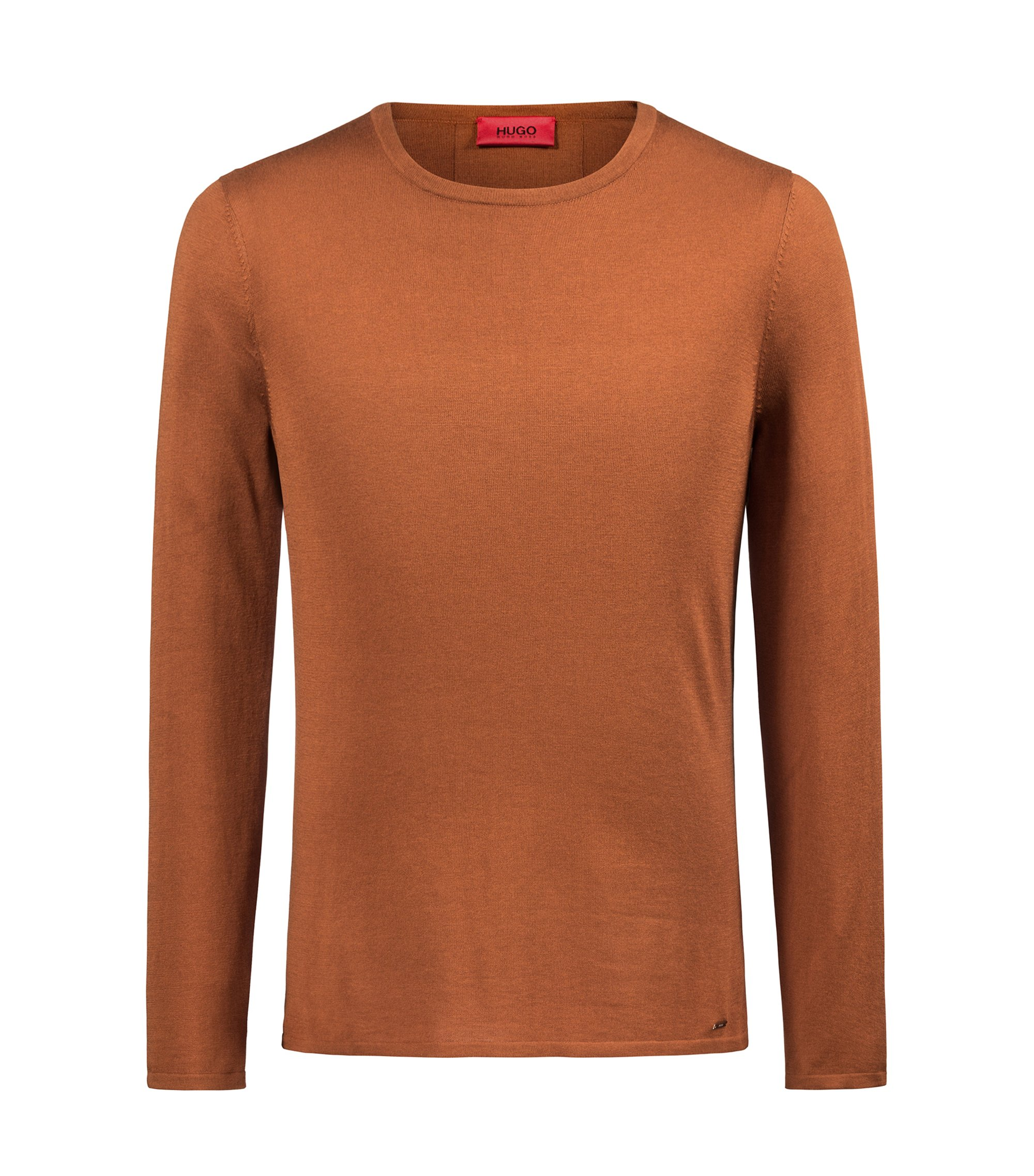 Crew-neck sweater in a cotton blend, Brown