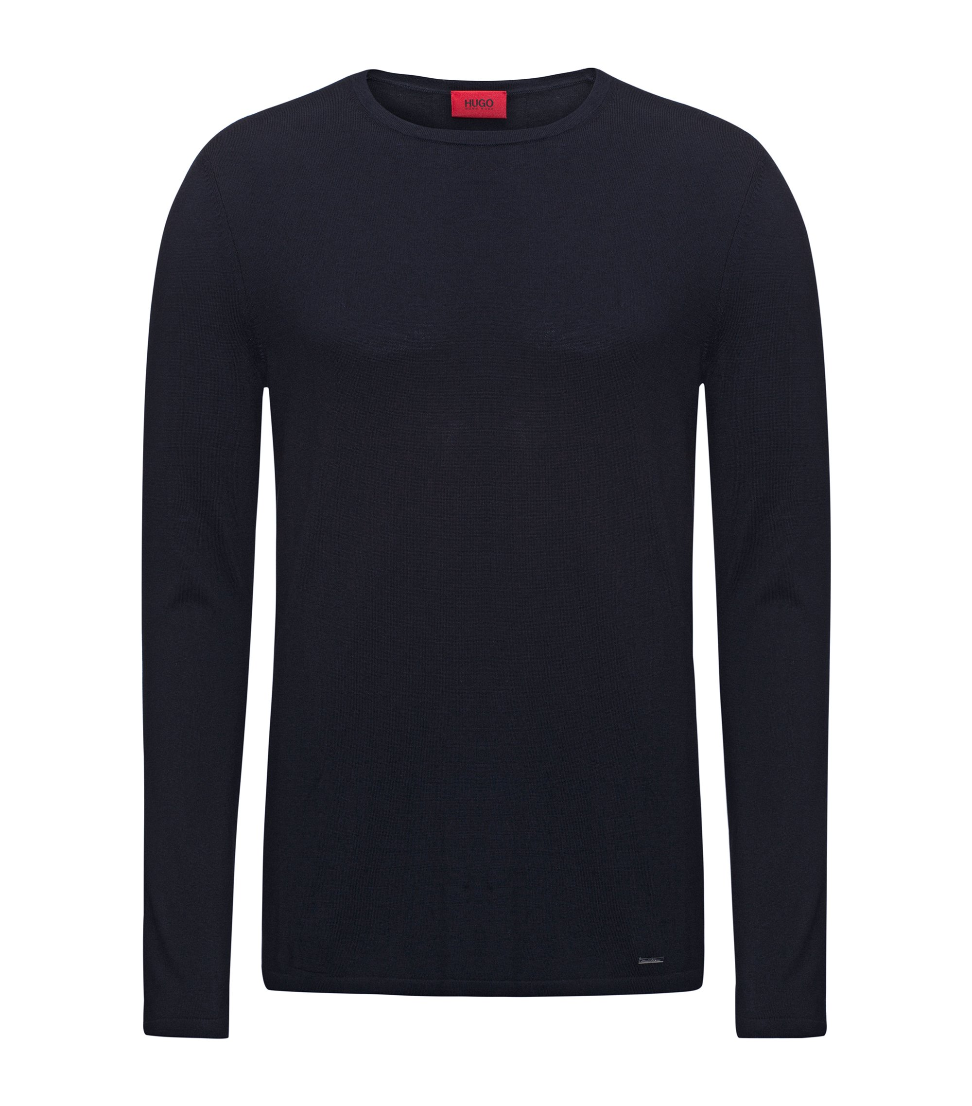 Crew-neck sweater in a cotton blend, Dark Blue