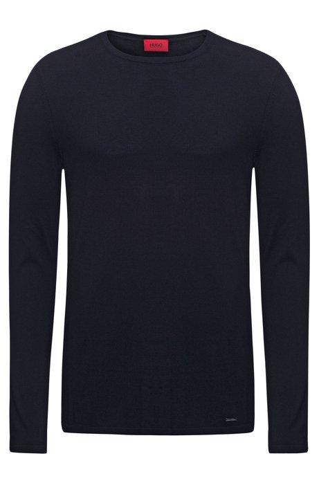 Jersey de cuello redondo en mezcla de algodón, Azul oscuro