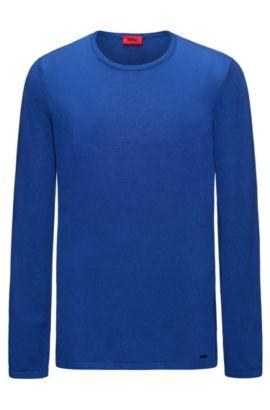 Pullover aus Baumwoll-Mix mit Seide, Blau