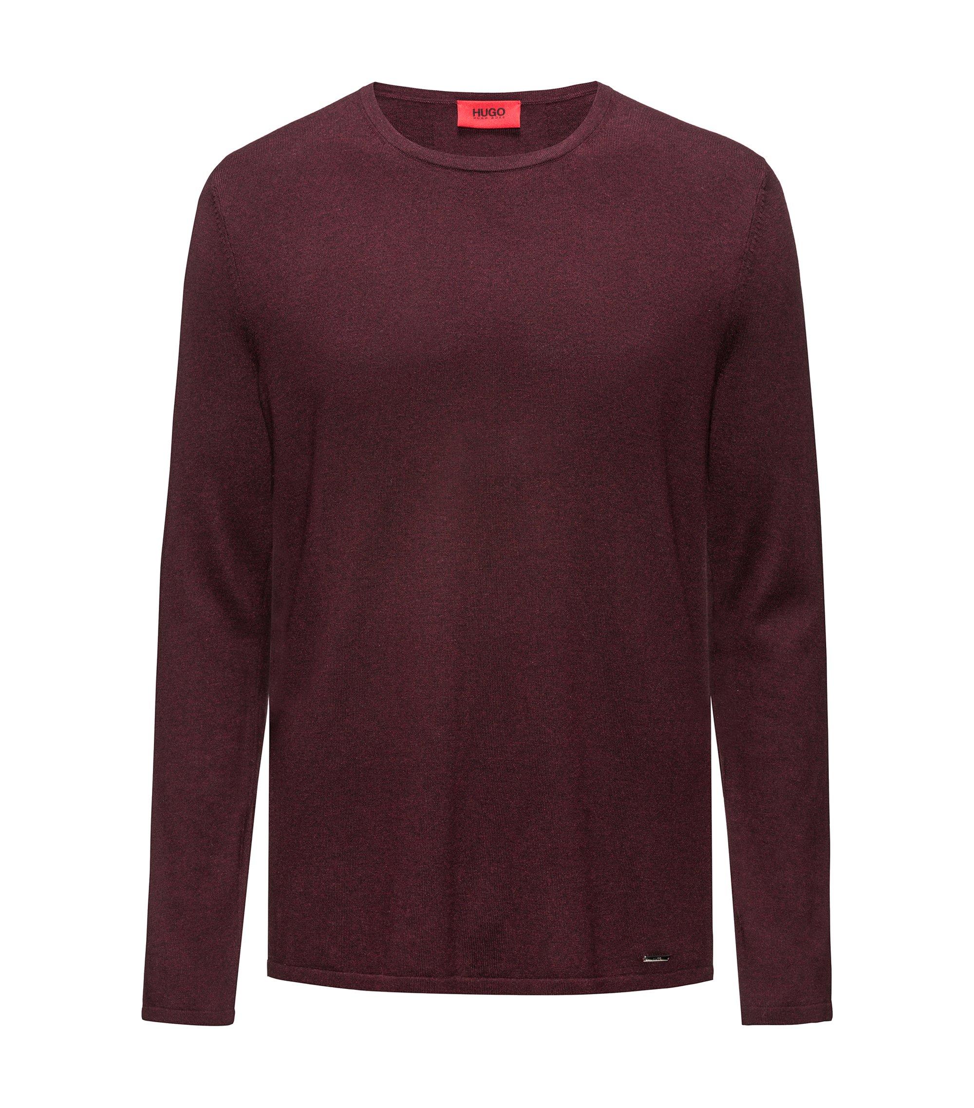 Crew-neck sweater in a cotton blend, Dark Red