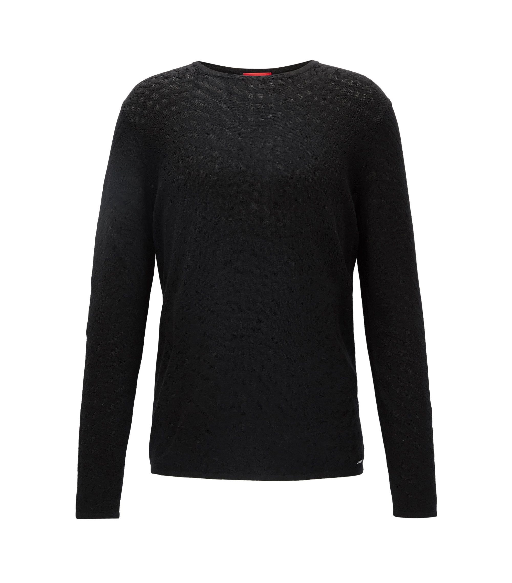 Crew-neck sweater in mixed jacquard, Black
