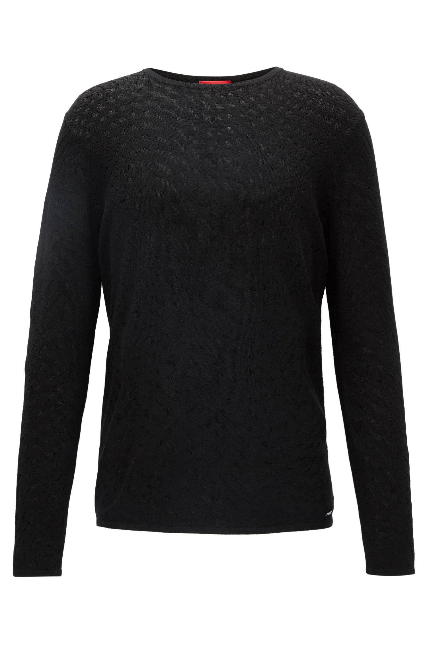Crew-neck sweater in mixed jacquard