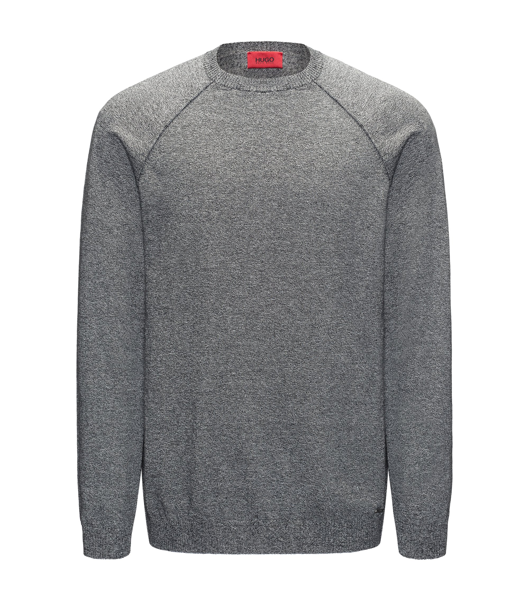 Mouliné sweater in pure cotton, Dark Grey