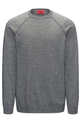 Mouliné sweater in pure cotton, Dark Grey
