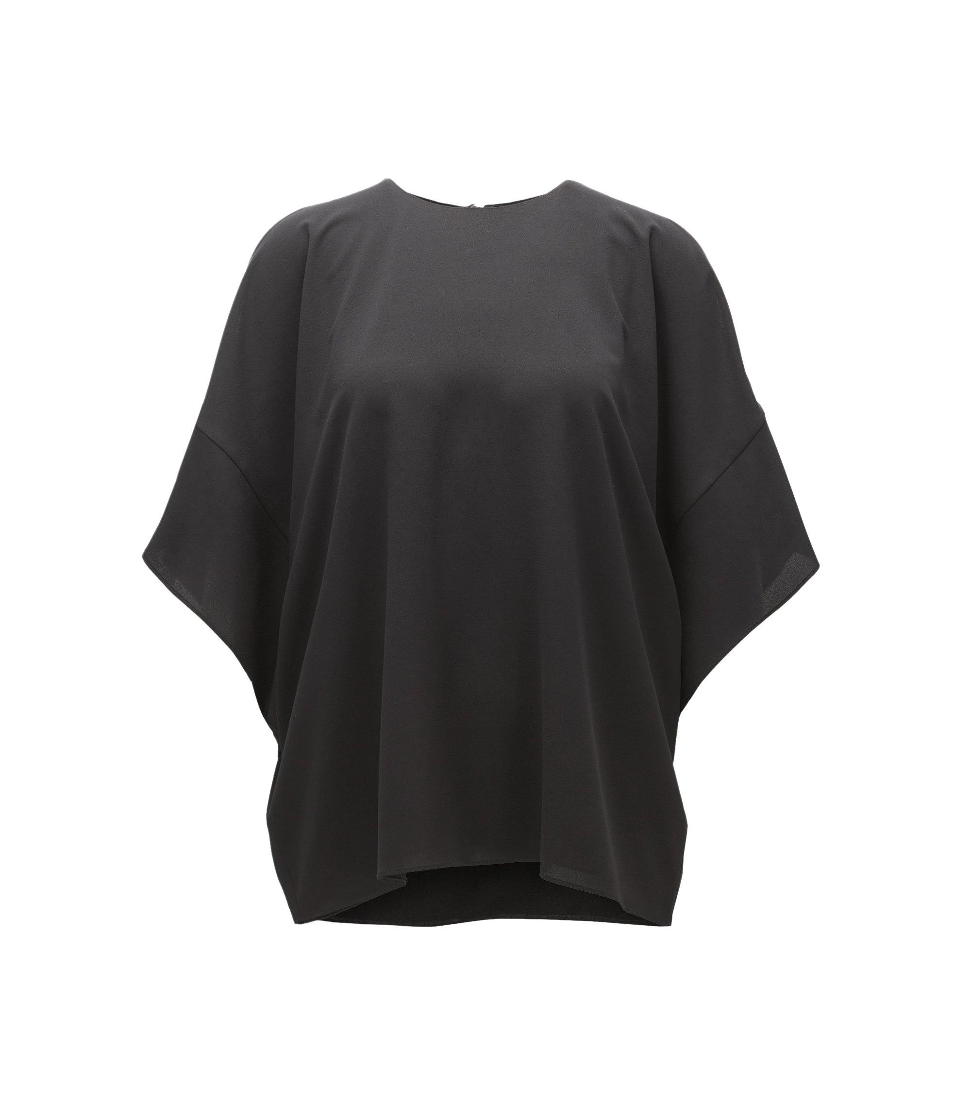 Relaxed-Fit Top aus leichtem Krepp, Schwarz