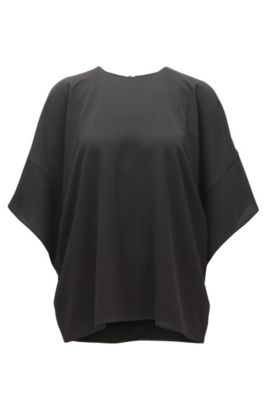 Slouchy top in lightweight crêpe, Black