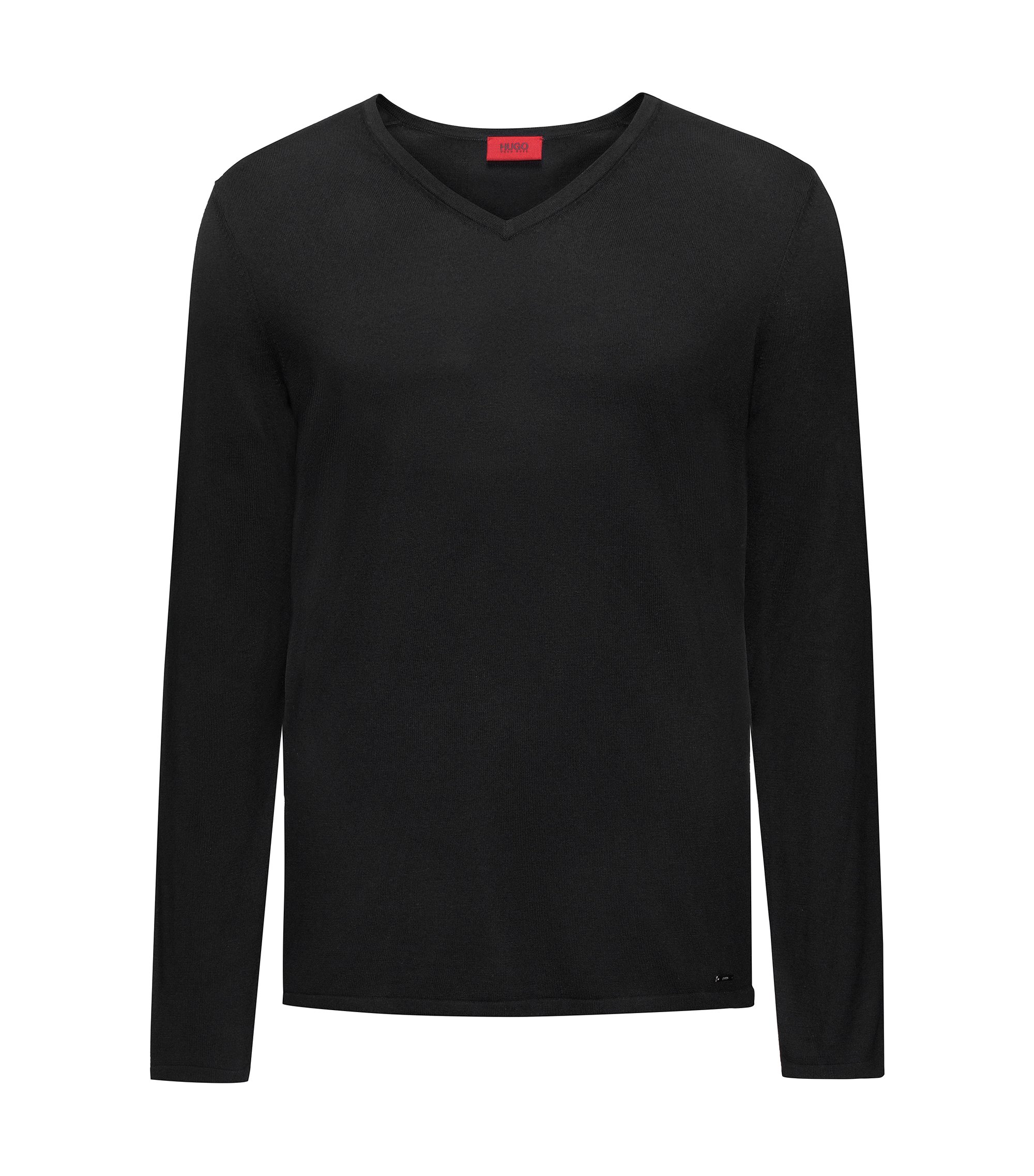 V-neck sweater in a cotton blend, Black