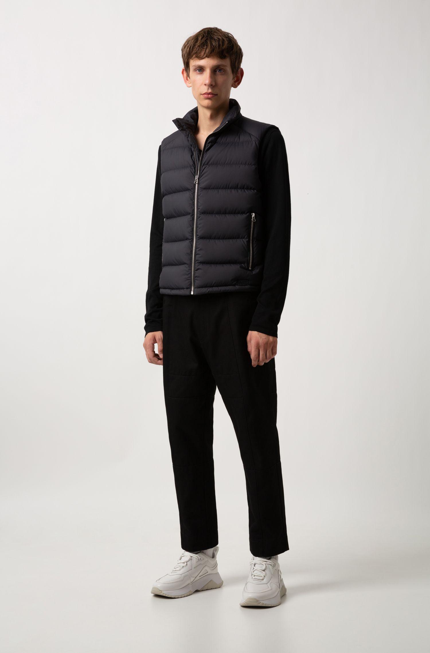 Pullover mit V-Ausschnitt aus Baumwoll-Mix mit Seide, Schwarz