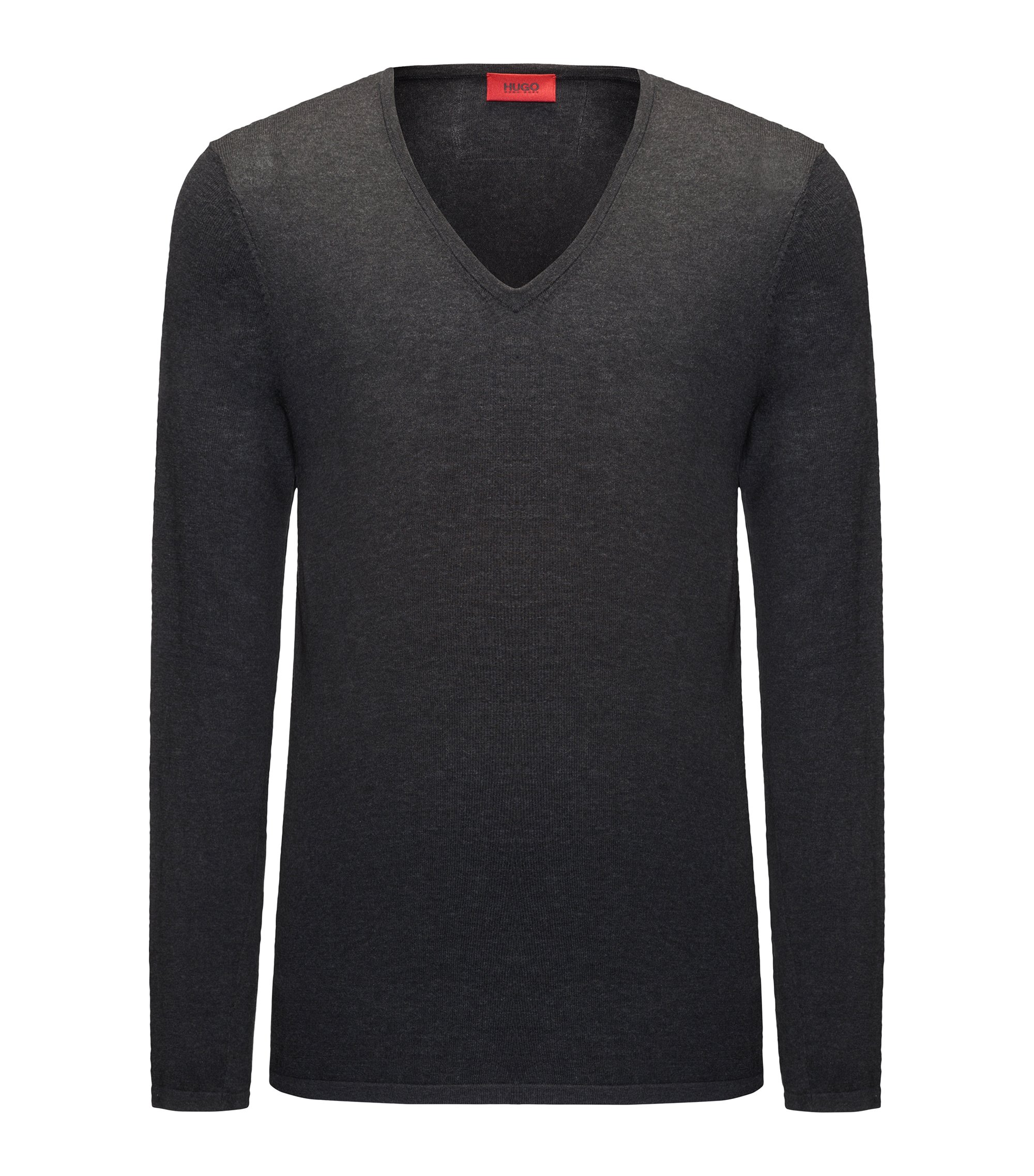 Pullover mit V-Ausschnitt aus Baumwoll-Mix mit Seide, Dunkelgrau