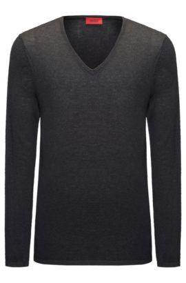V-neck sweater in a cotton blend, Dark Grey