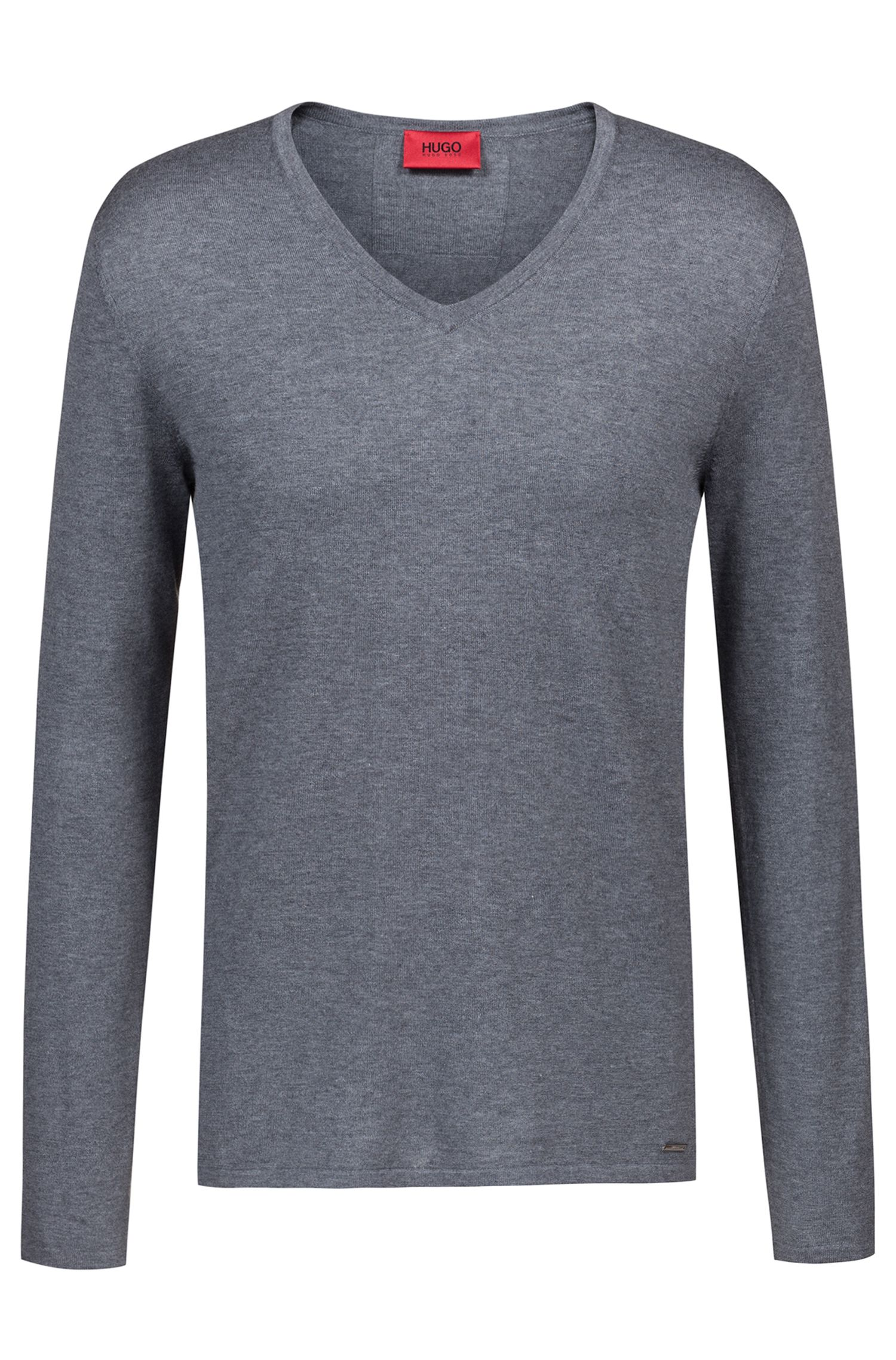 V-neck sweater in a cotton blend, Grey