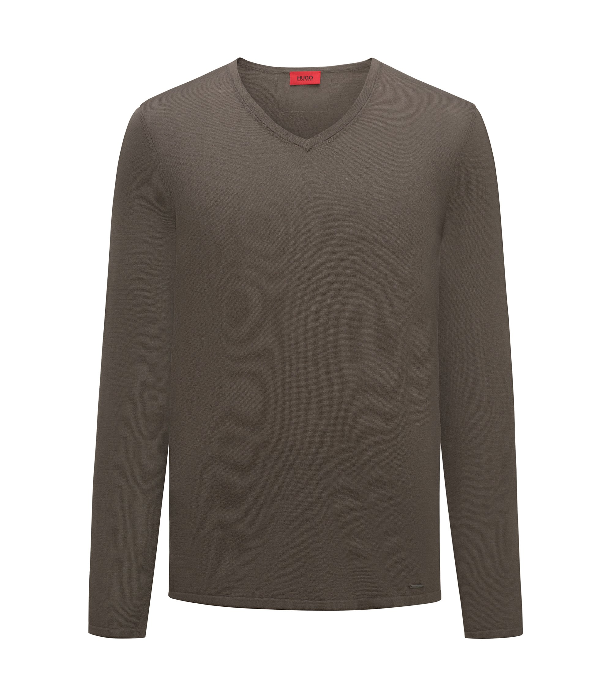 V-neck sweater in a cotton blend, Brown