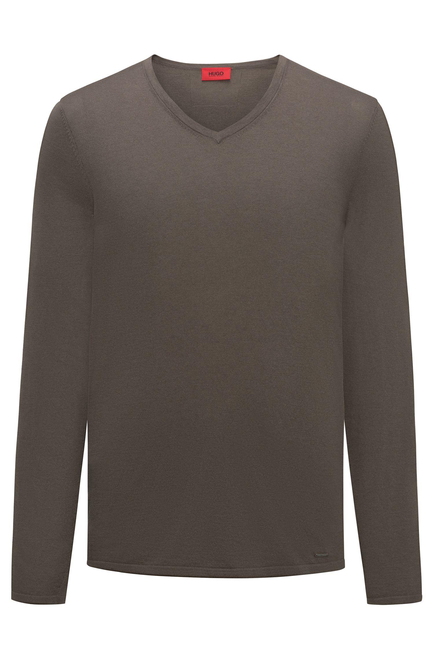 Pullover mit V-Ausschnitt aus Baumwoll-Mix mit Seide
