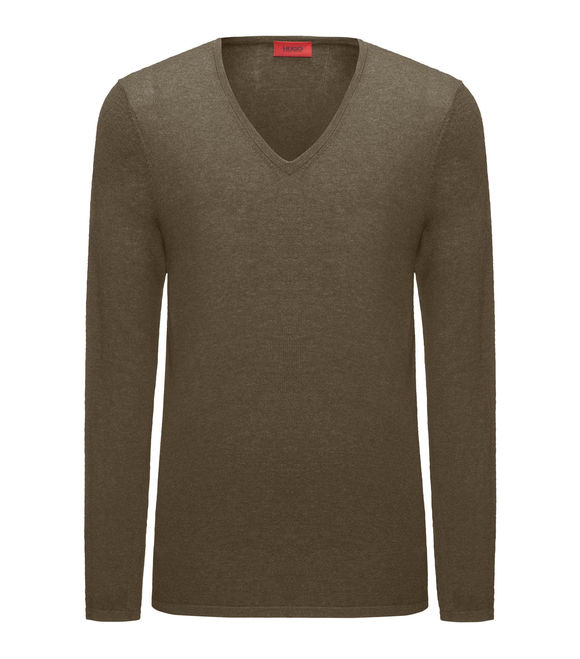 V-neck sweater in a cotton blend, Dark Green