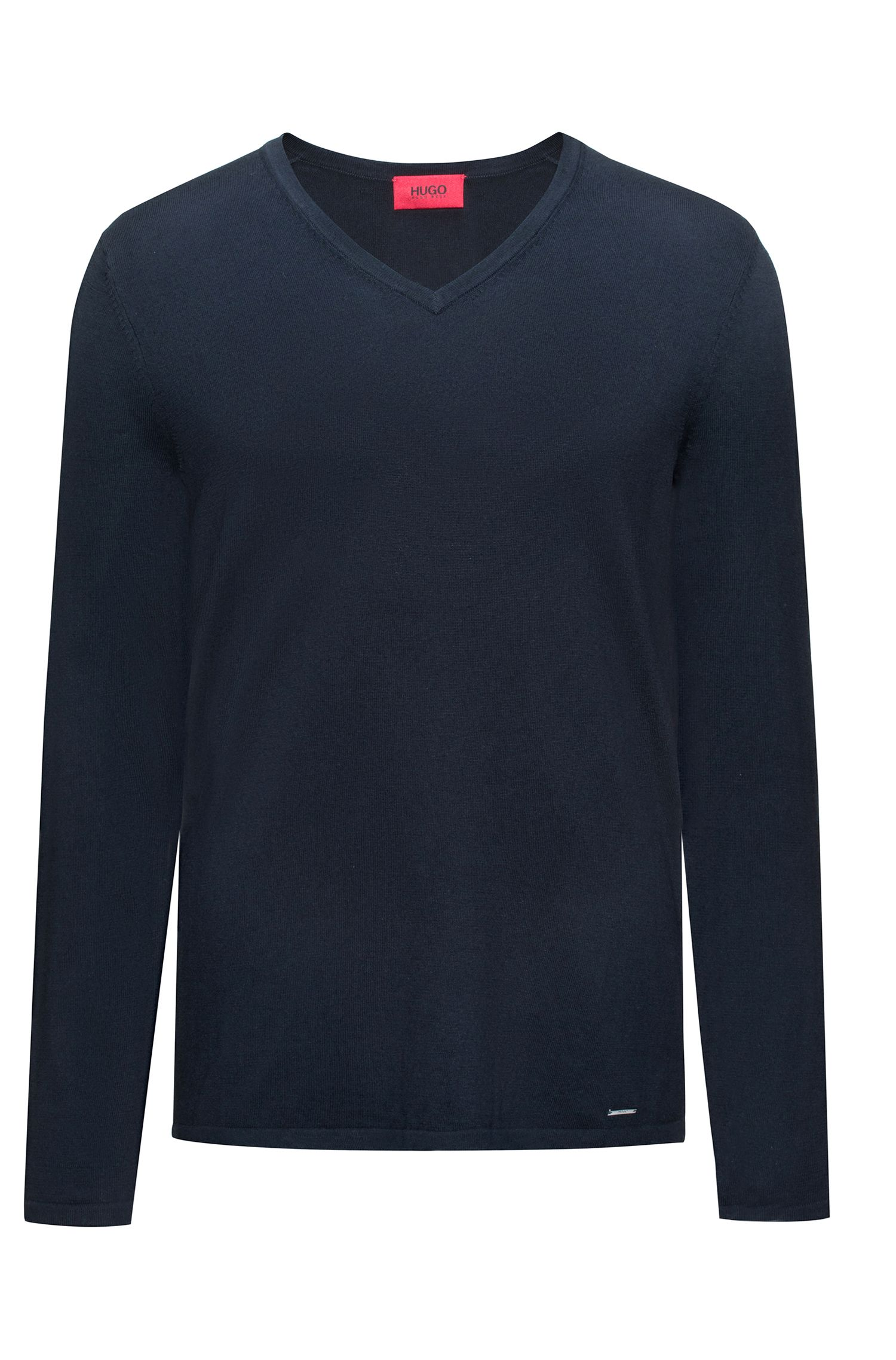 V-neck sweater in a cotton blend, Dark Blue
