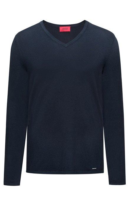 Maglione con scollo a V in misto cotone, Blu scuro