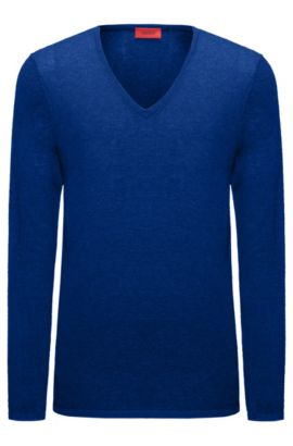 V-neck sweater in a cotton blend, Blue