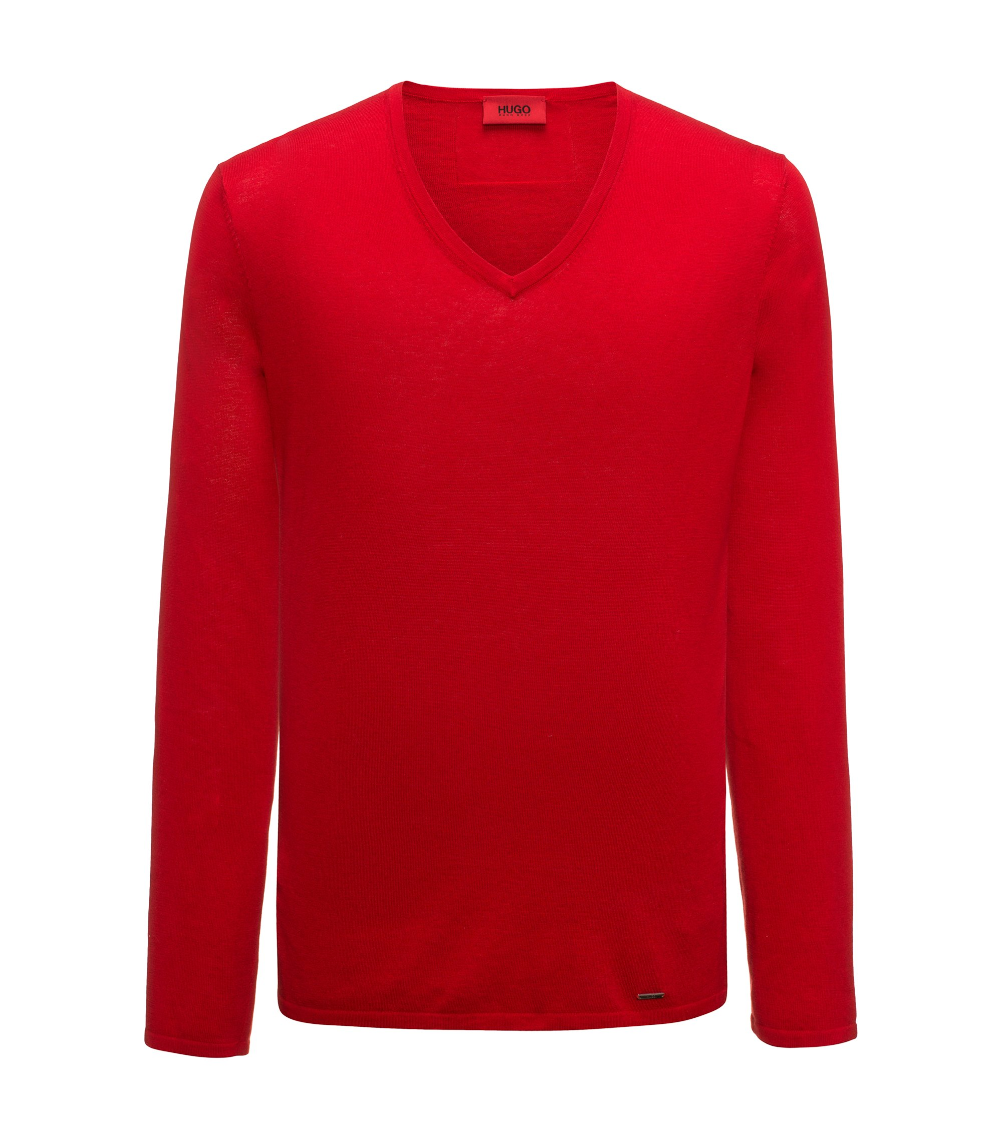 V-neck sweater in a cotton blend, Red