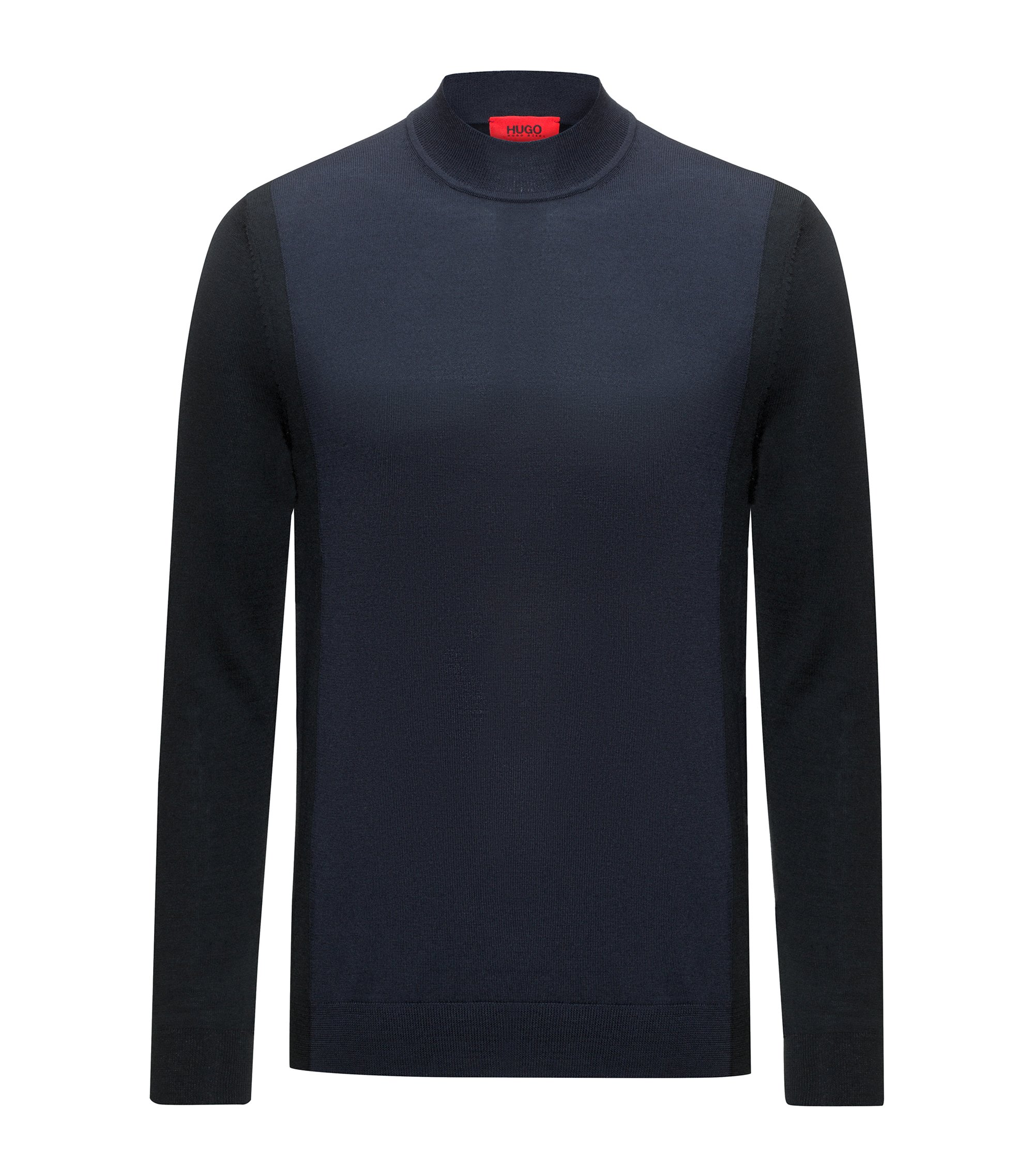 Colour-block sweater in a virgin-wool blend, Dark Blue
