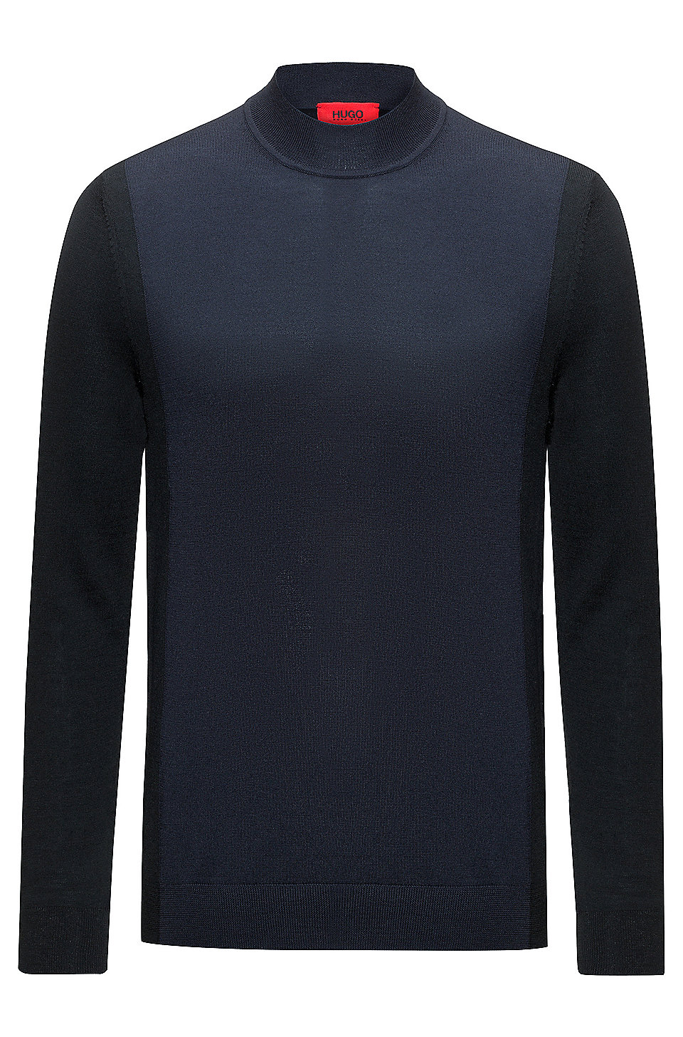 Colour-block sweater in a virgin-wool blend, Dark Blue