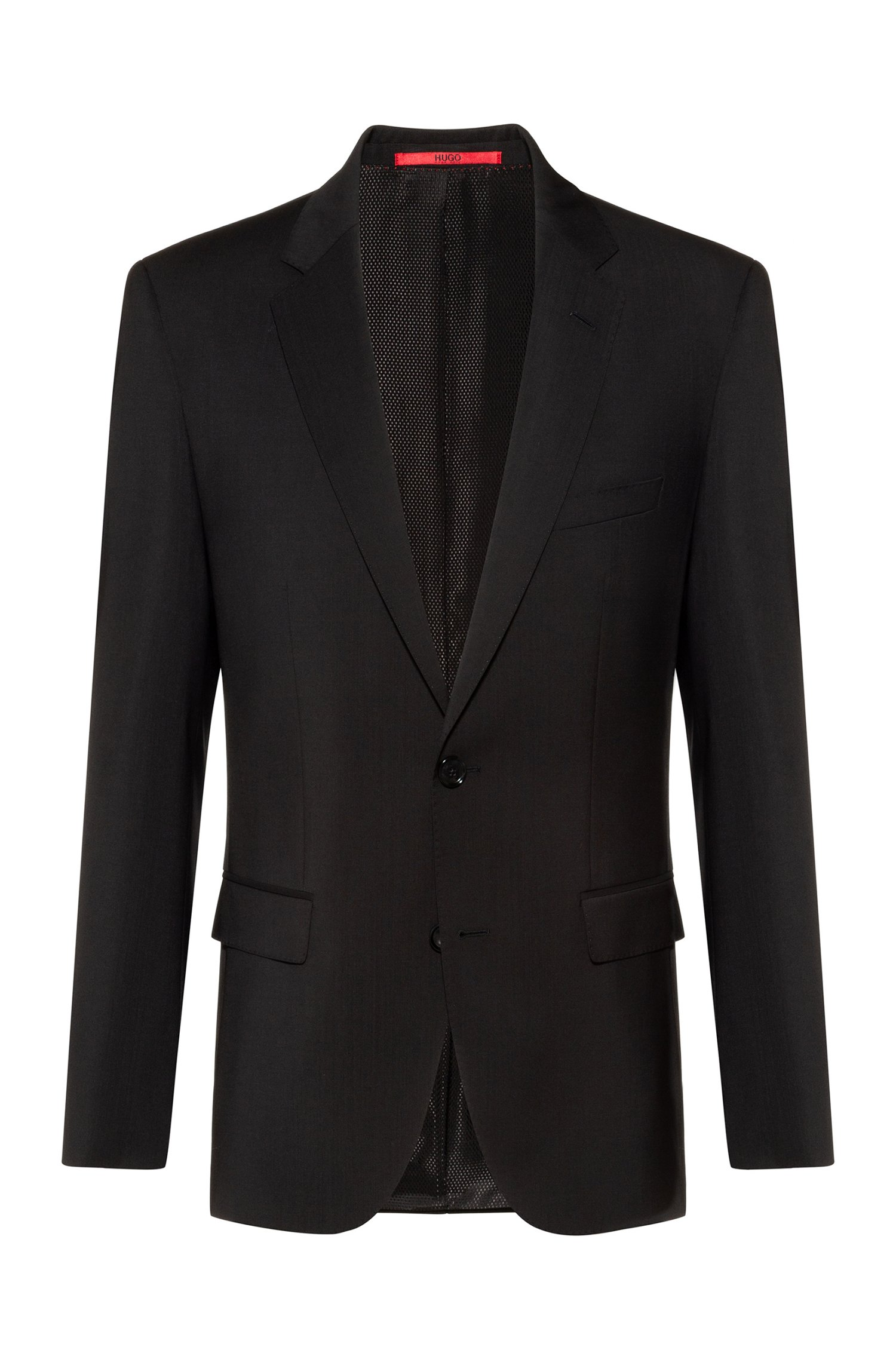 Regular-fit jacket in virgin wool with natural stretch, Black