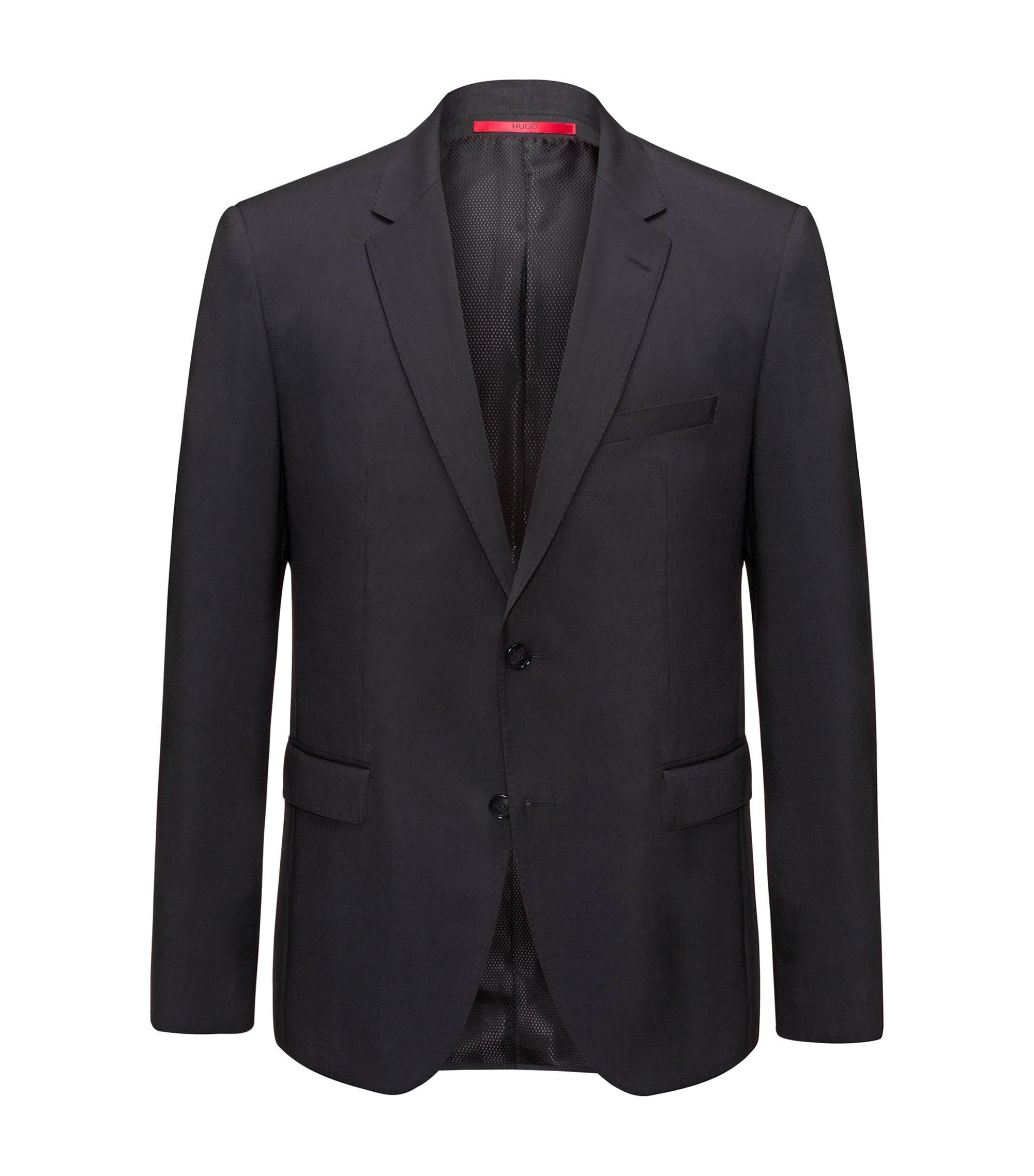 Regular-fit jacket in virgin wool, Black