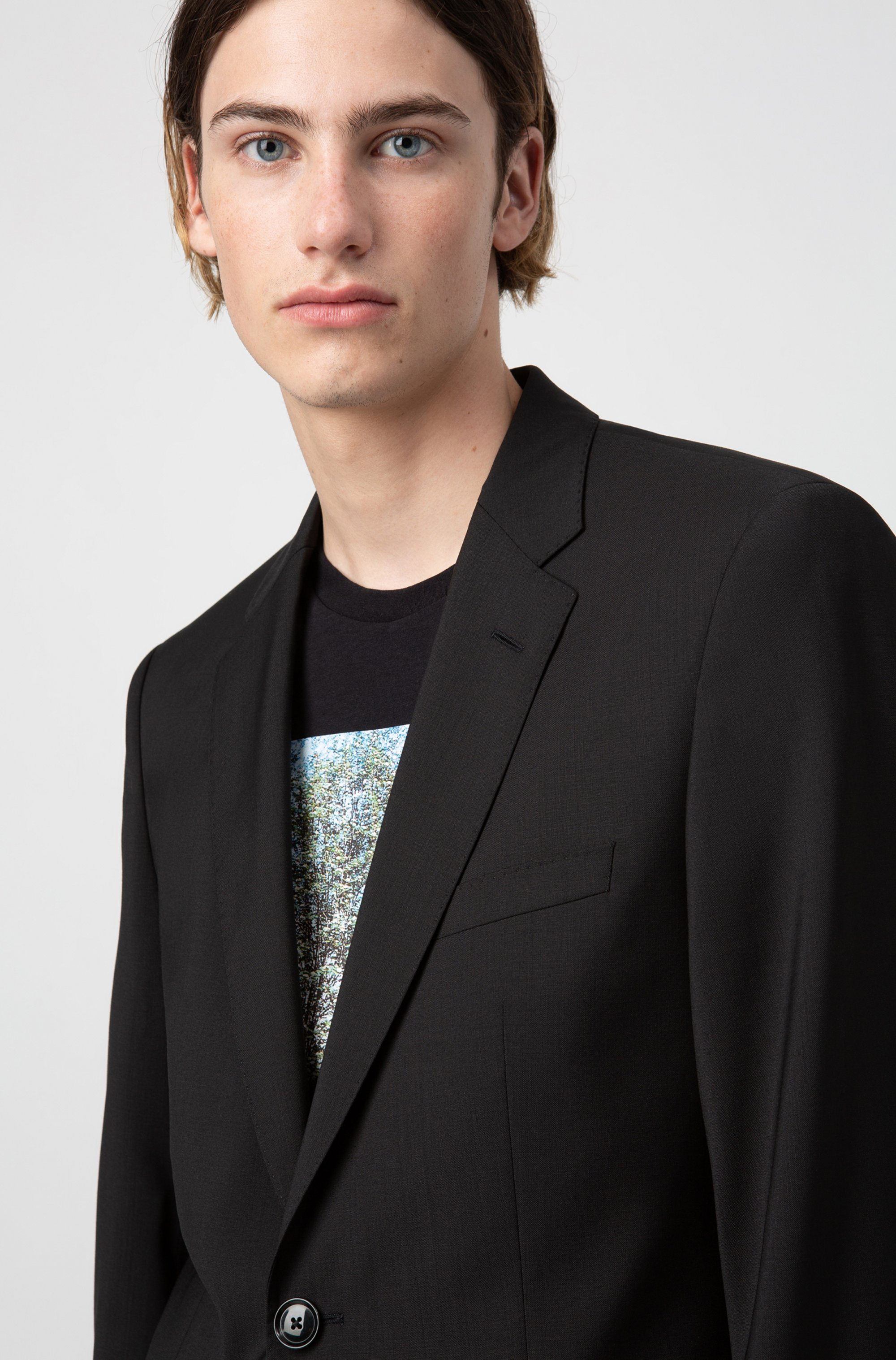 Regular-fit jacket in virgin wool with natural stretch
