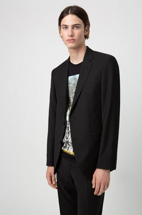 Regular-fit jacket in virgin-wool poplin, Black