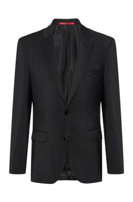 Regular-fit jacket in virgin wool with natural stretch, Dark Grey