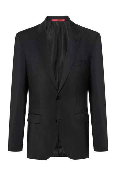 Regular-fit jacket in virgin wool with natural stretch, Dark Grey