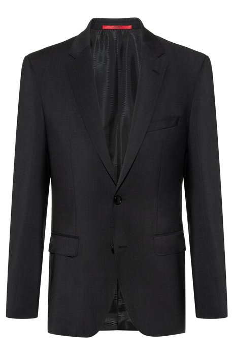 Regular-fit jacket in virgin-wool poplin, Dark Grey