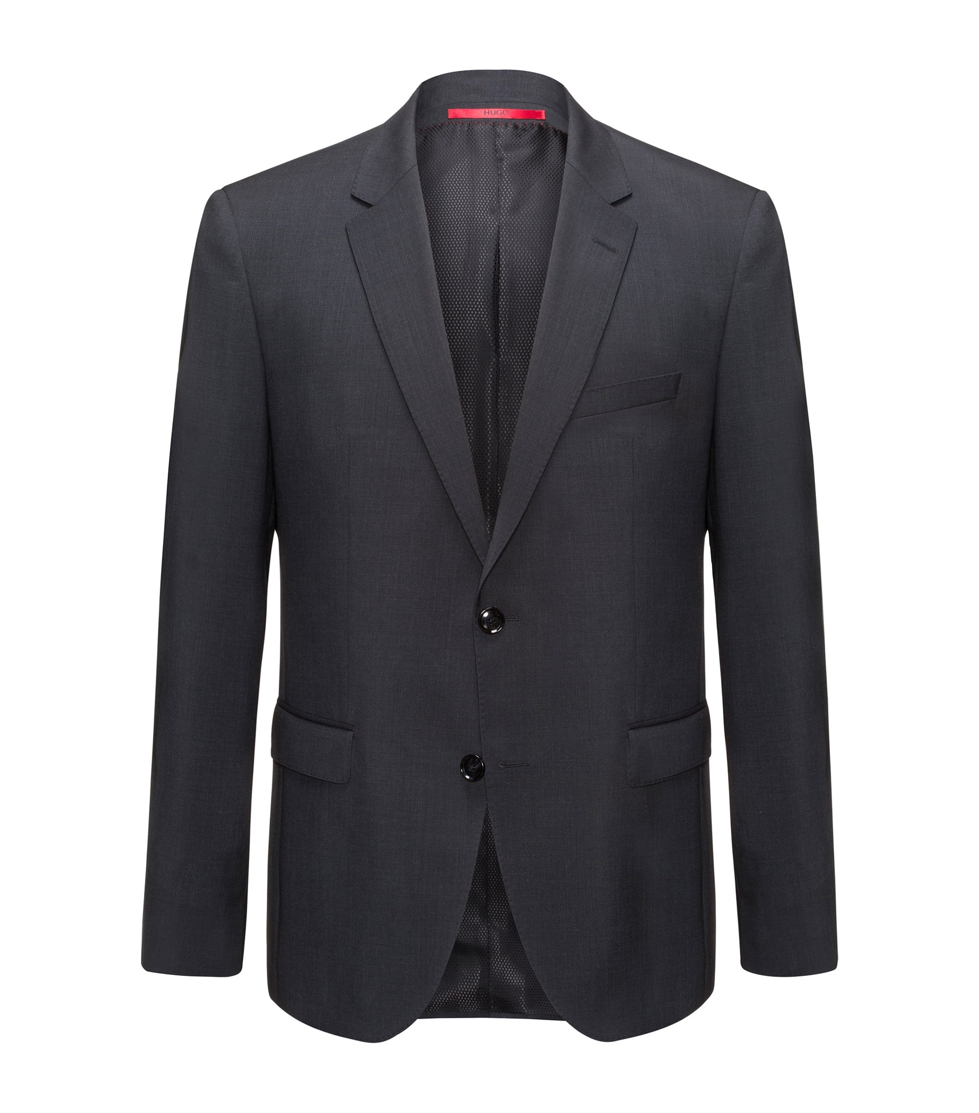 Regular-fit jacket in virgin wool, Dark Grey