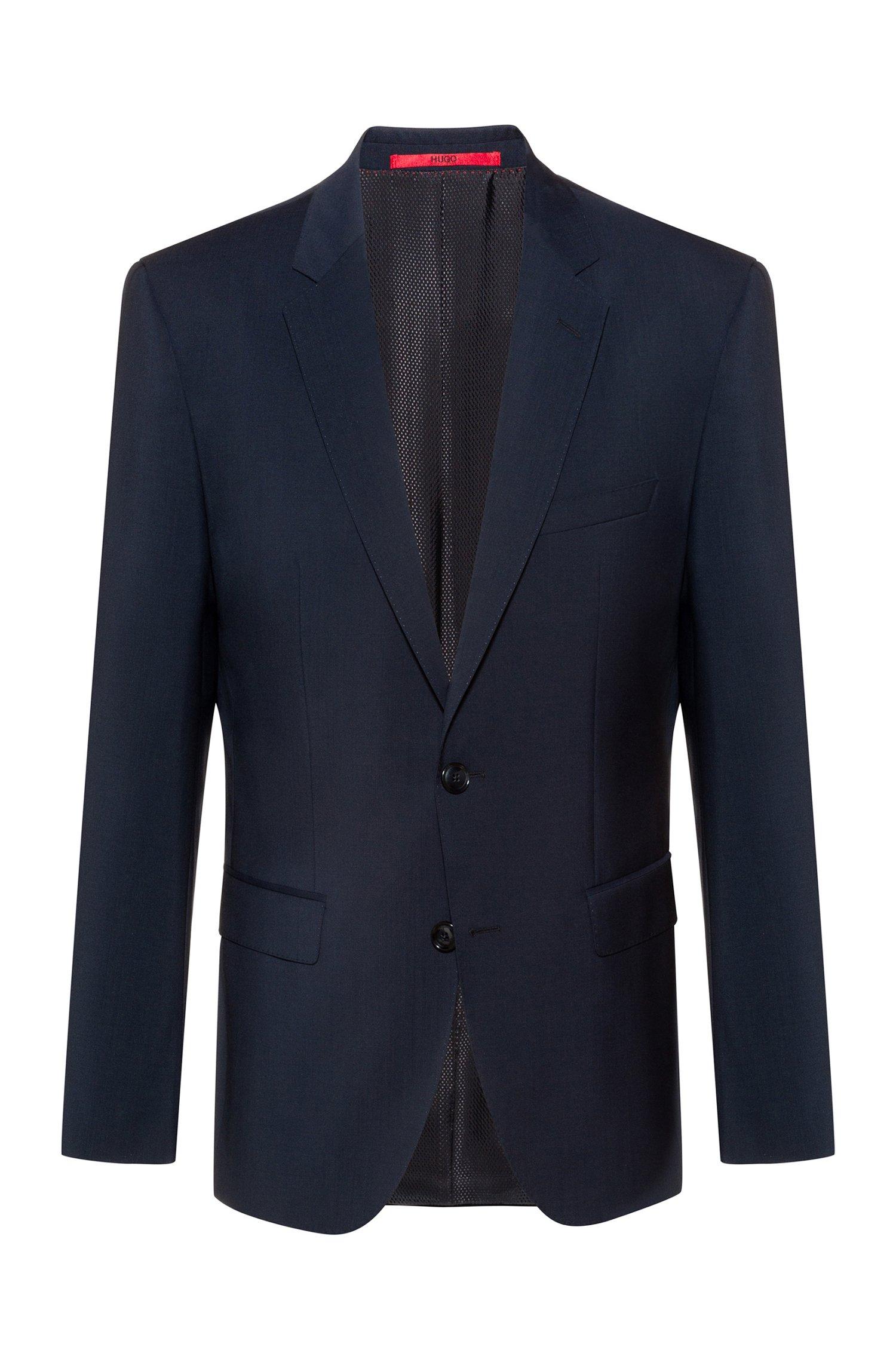 Regular-fit jacket in virgin wool with natural stretch, Dark Blue