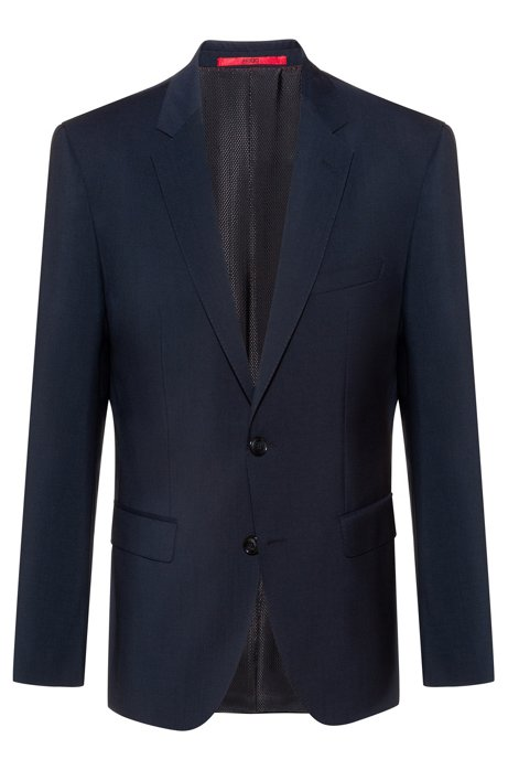 Regular-fit jacket in virgin-wool poplin, Dark Blue