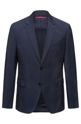 Veste Regular Fit en laine vierge, Bleu foncé