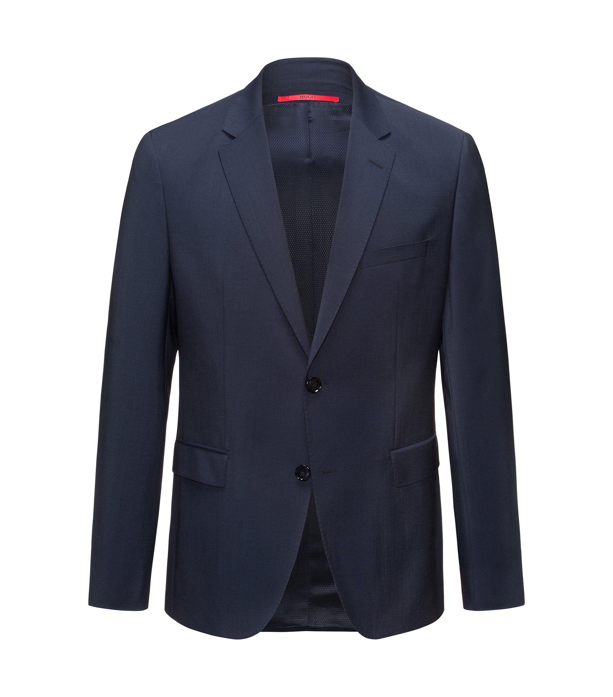 Regular-fit jacket in virgin wool, Dark Blue
