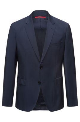 Regular-fit colbert van scheerwol, Donkerblauw
