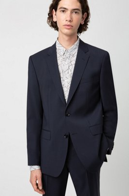 Regular-fit jacket in virgin wool with natural stretch, Dark Blue