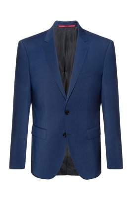 Regular-fit jacket in virgin wool with natural stretch, Blue