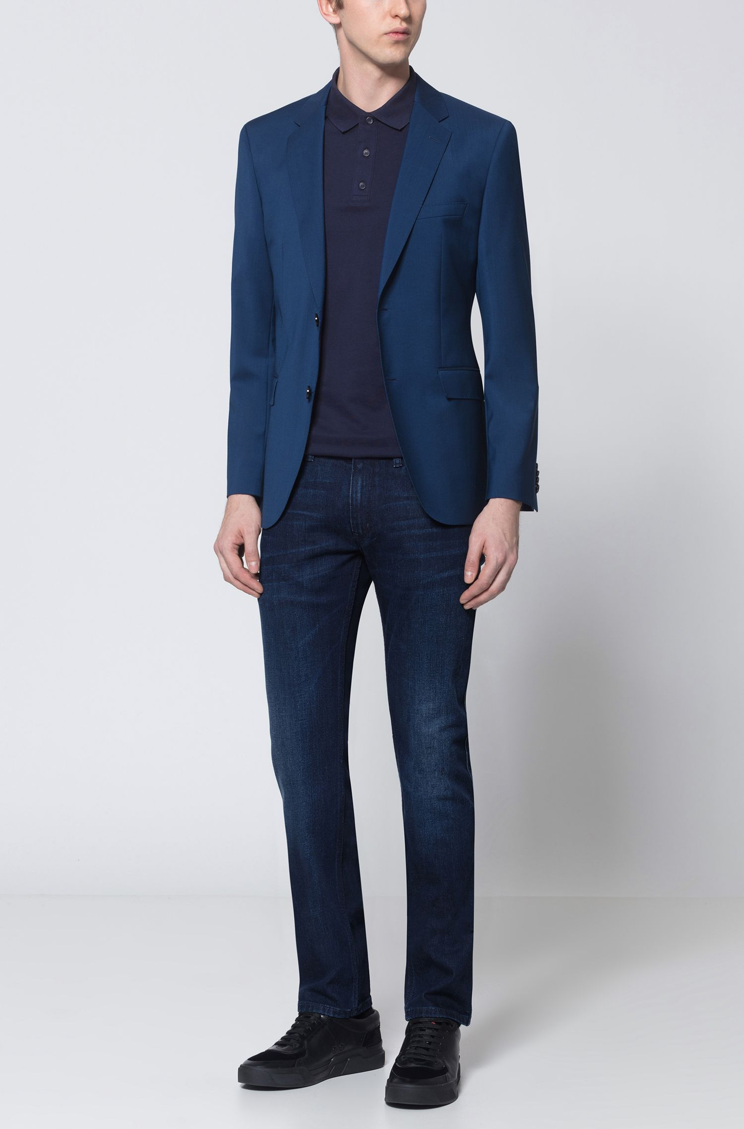 Giacca regular fit in lana vergine, Blu