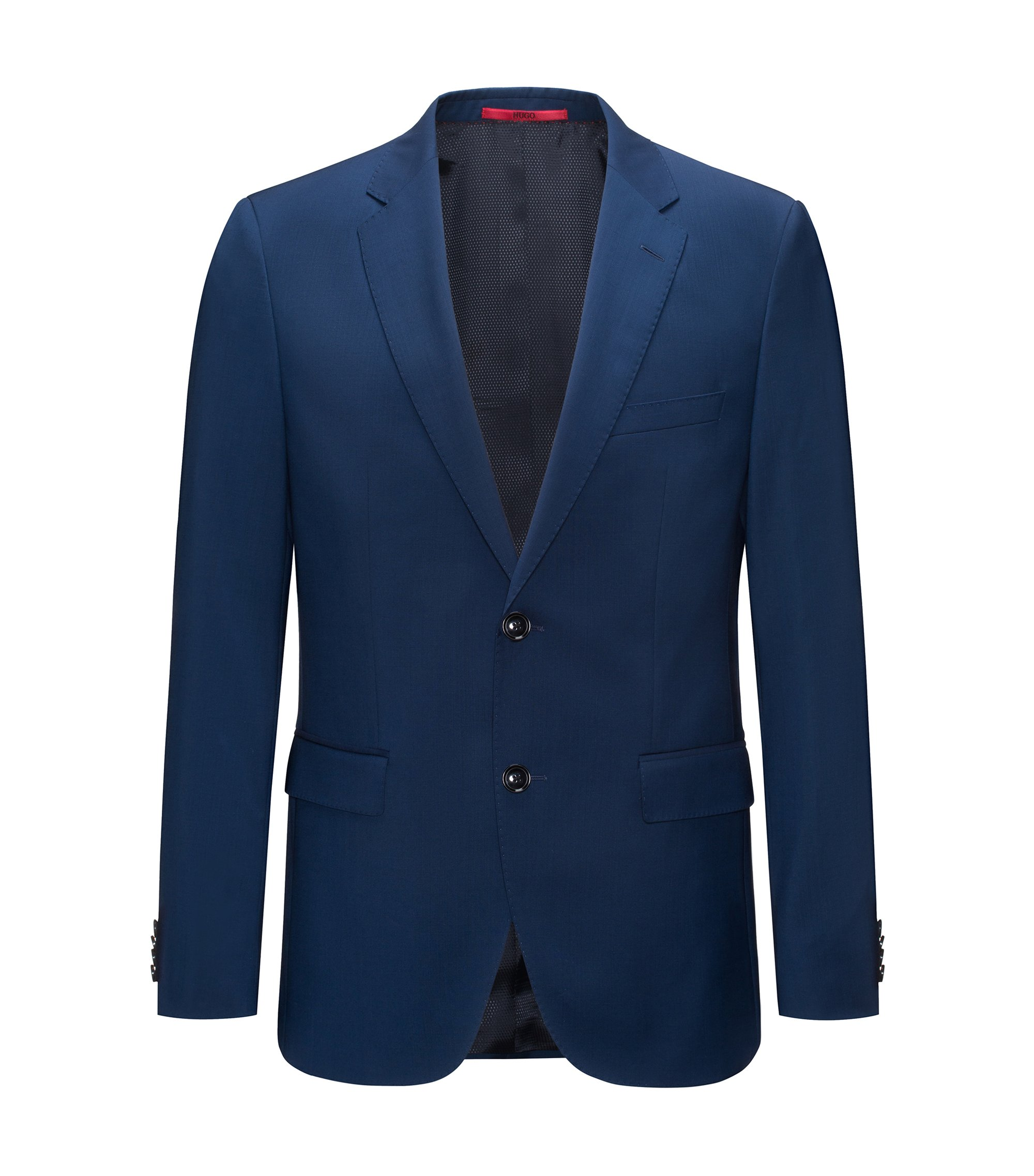 Regular-fit jacket in virgin wool, Blue