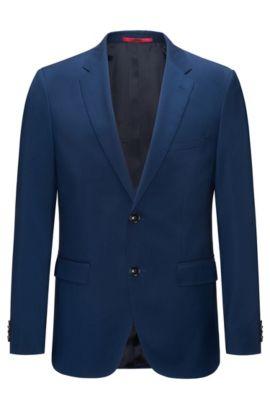 Regular-fit jacket in virgin wool, Blue