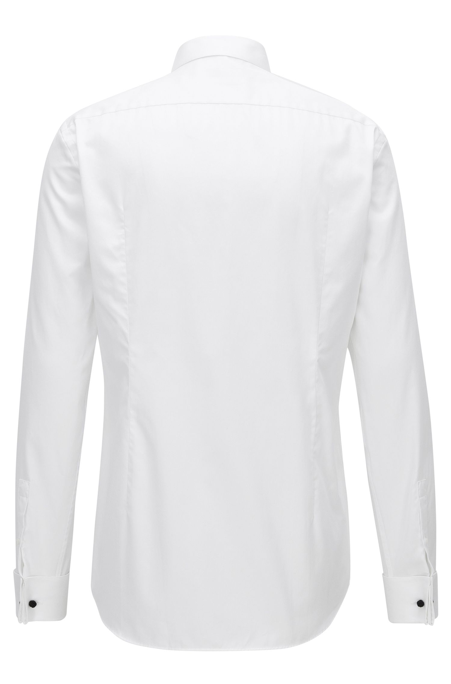 Slim-fit evening shirt in cotton satin with textured front panel