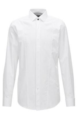 Slim-fit evening shirt in cotton satin with textured front panel, White