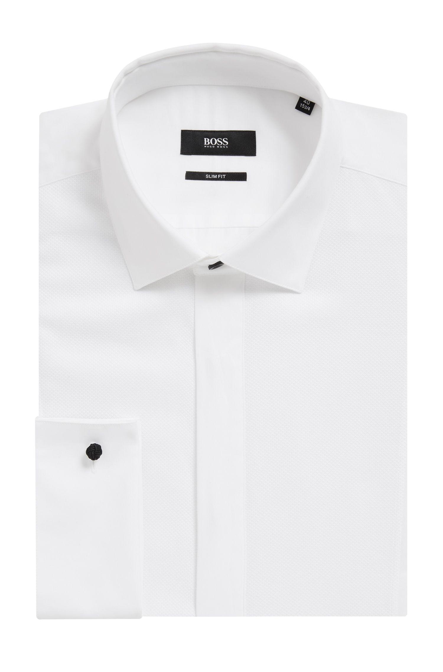 Slim-Fit Smoking-Hemd aus Baumwoll-Satin mit strukturierter Bahn