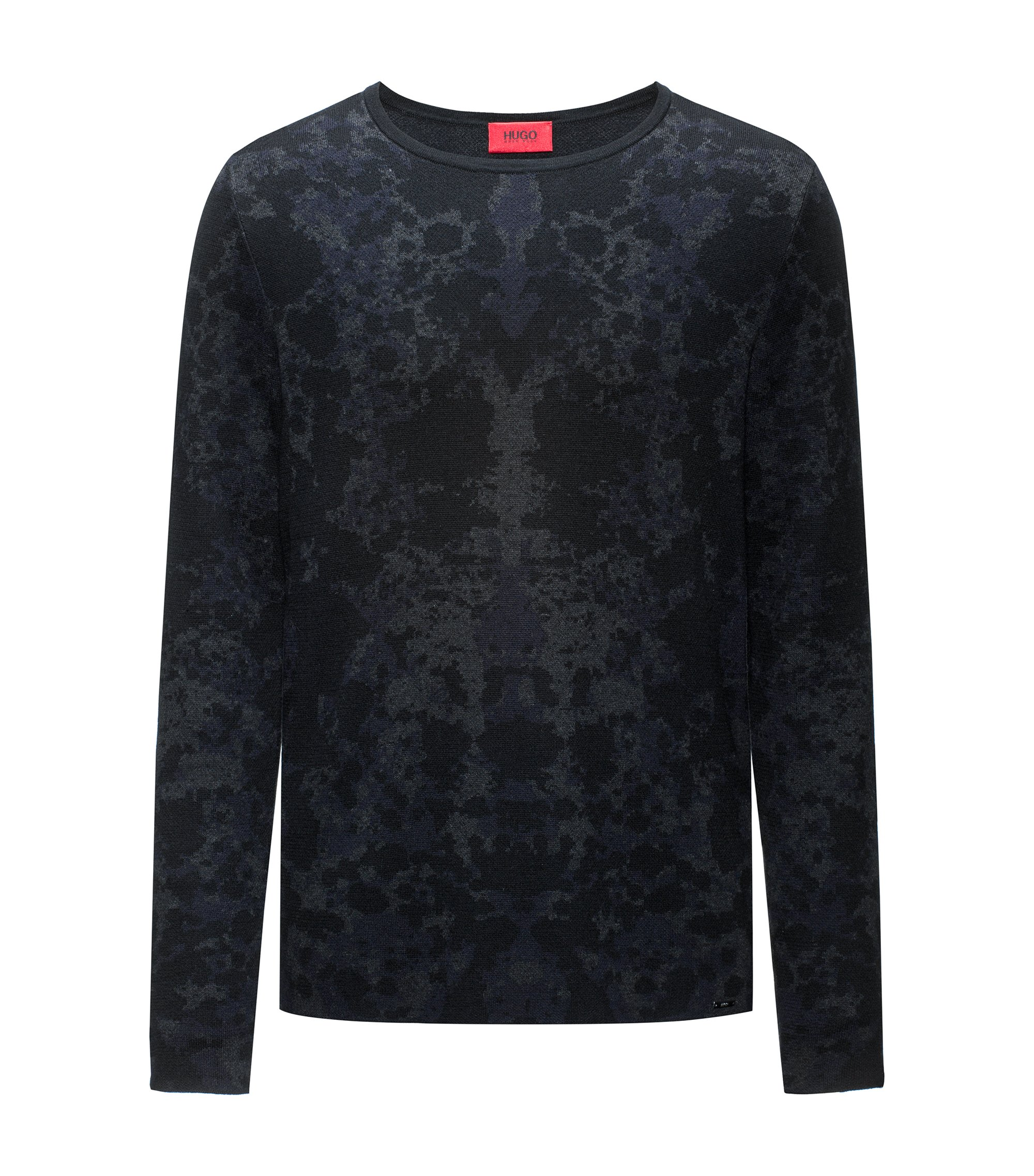 Crew-neck sweater in a jacquard cotton blend, Dark Grey